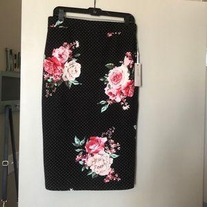 Floral and poka dot skirt